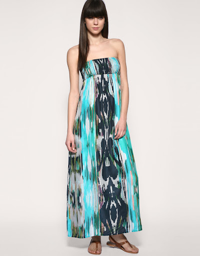 Bright Ikat Print Silk Maxi Dress by Warehouse