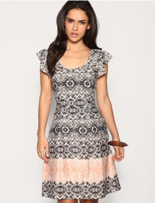 Lace Print Frill Sleeve Fitted Waist Dress by ASOS