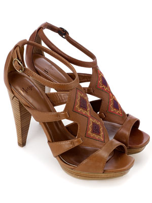 Tan Stitched Leather Heeled Sandals by Monsoon