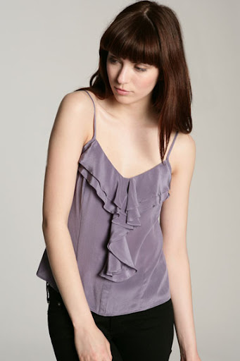 Purple Silk Ruffle Cami Top by Silence + Noise at Urban Outfitters