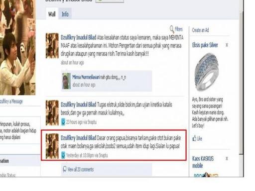 Satus Facebook Mahasiswa ITB hina Papua | SARA & RASIS