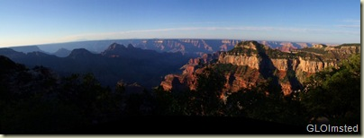 Morning light over the canyon from Lodge North Rim Grand Canyon National Park Arizona