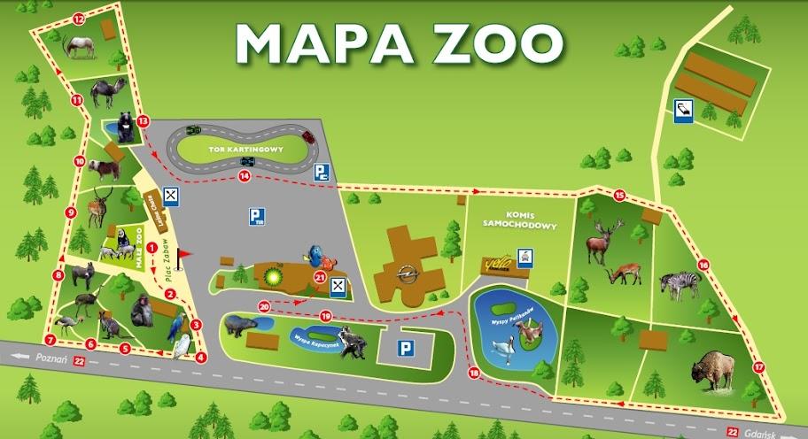 Mapa Zoo w Człuchowie