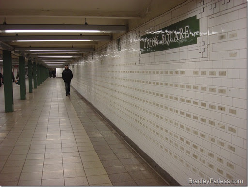 Each tile on this Union Square station wall has the name of a person who died on September 11th, 2001 on it.