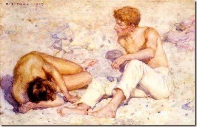 28 - Two boys on a beach (A study in bright sunlight) - 1909 Ashmolean museum, Oxford