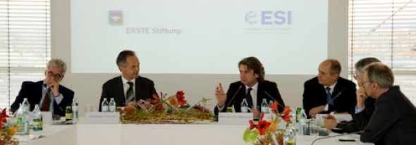 """Is Europe a continent in decline""&ndashAlex Rondos, Andreas Treichl, Boris Marte, Peter Hagen, Wolfgang Petritsch and Rainer Munz. Photo: ERSTE Stiftung"
