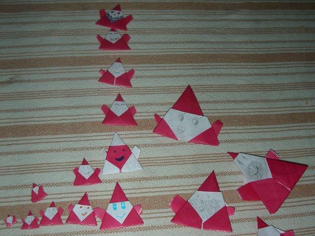 Lots of Origami Santas