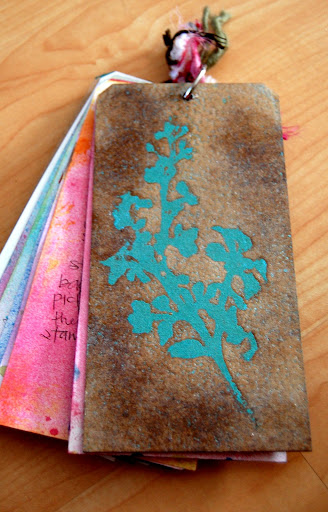...and the back. I went embossing crazy on the back. :)