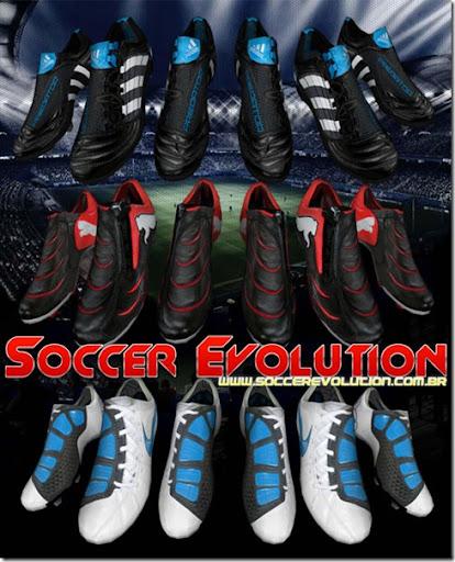 Downloads chuteiras adidas Predator X TRX FG, Nike Total90 Laser III K FG e PUMA PWR-C 1.10 FG para FIFA 10
