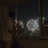 We watched the fireworks from the 40th floor apartment at Times Square