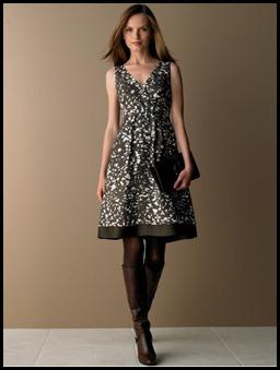 Silk twig-print dress - BR