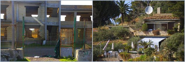 Crime - Mafia - Palermo - Schlechtes und gutes Beispiel (Ferienhäuser in Mongerbino) für schonenden Tourismus
