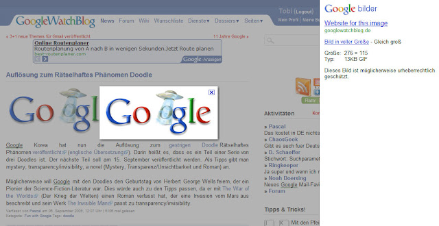 Neue Landing-Page bei Google Images