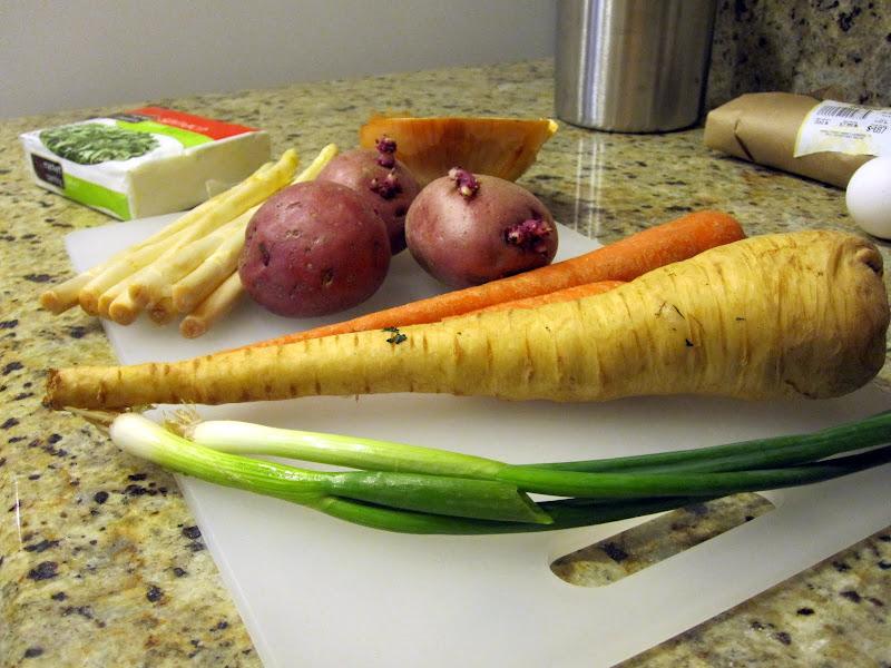 Carrot white asparagus spinach potato onion parsnip scallion