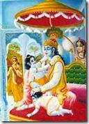 Narada viewing Krishna in His palace
