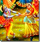 Krishna dancing with a gopi