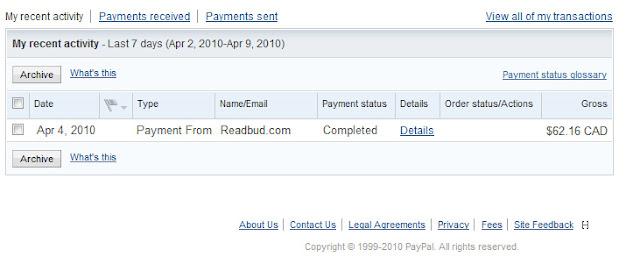 payment proof atau bukti pembayaran readbud untuk membuktikan  bahwa readbud bukan tidak scam