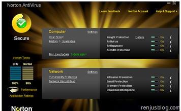 Symantec antivirus 2010 UI