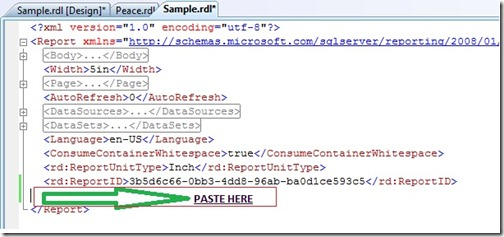 Paste copied code
