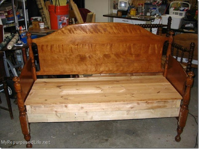 maple headboard bench