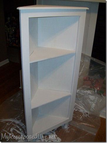 painting a diy plywood corner cabinet