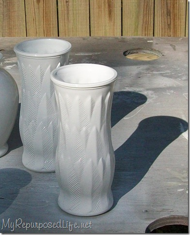 white painted vase