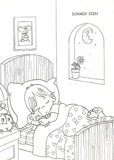 為孩子們的著色頁: Sleeping child, free coloring pages