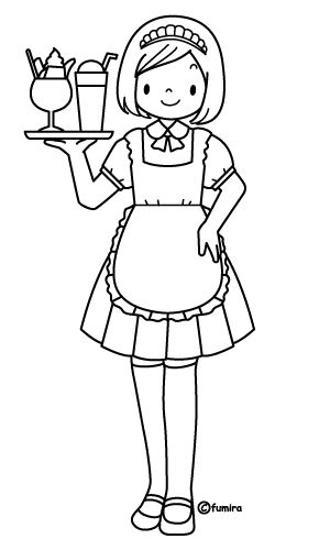 為孩子們的著色頁: waitress free coloring pages