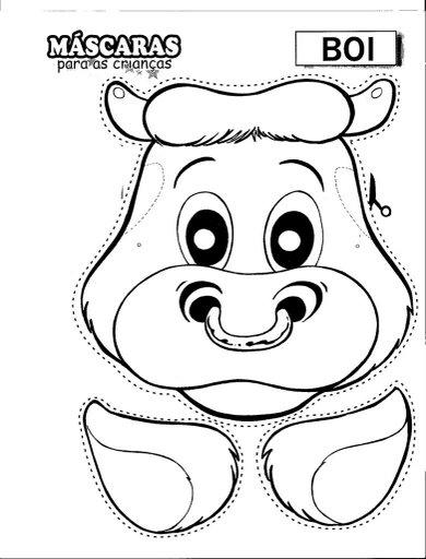 Pinto Dibujos: Máscara de vaca toro recortar y colorear