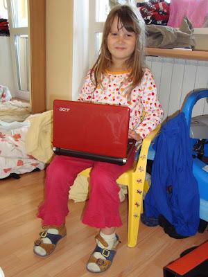 Кристина и ее первый ноутбук