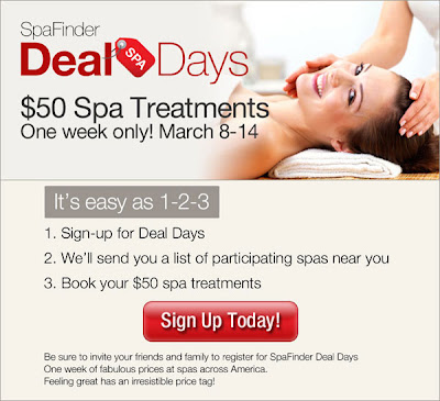 SpaFinder.com Deal Days special offers and discounts run March 8 through 14 2010