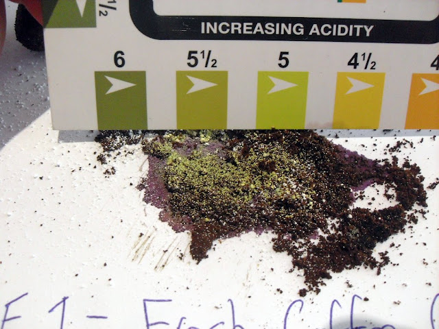 pH results for fresh coffee grounds 5 to 5.5