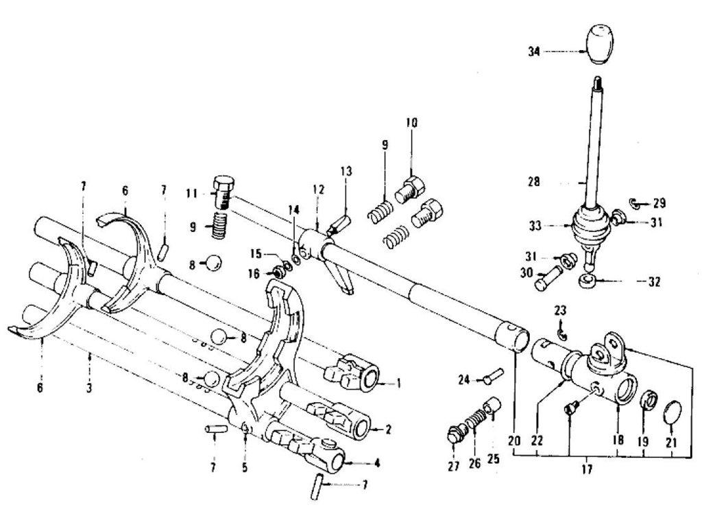 Datsun 280Z Transmission Control Lever & Fork (5 Speed