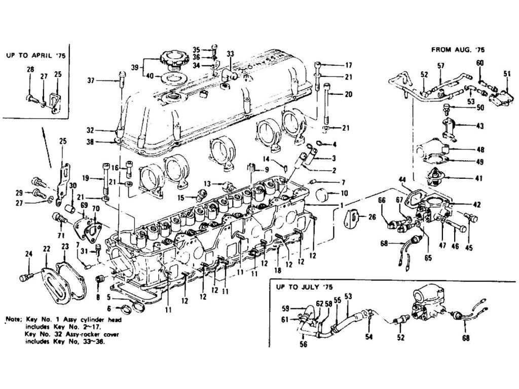 Datsun 280z Cylinder Head Rocker Cover Amp Thermostat L28e