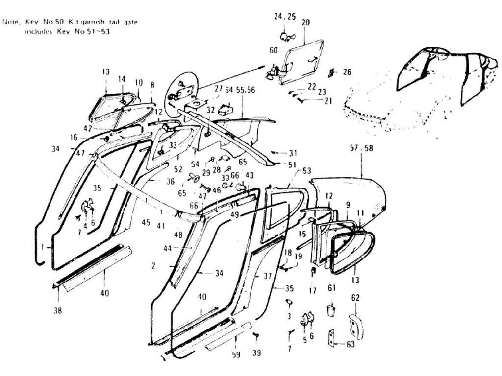 Datsun 240Z Body Side Trim & Side Window (To Jul.-'73)