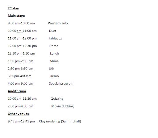Utsav 10 - On-Stage Events Schedule Part 2 of 3