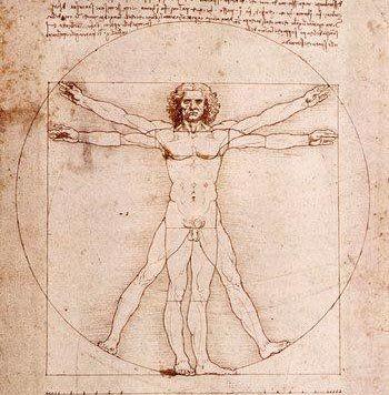 El hombre de Vitruvio. Leonardo da Vinci.