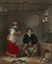 Sancho Panza y su mujer Teresa ante una barrica de vino.