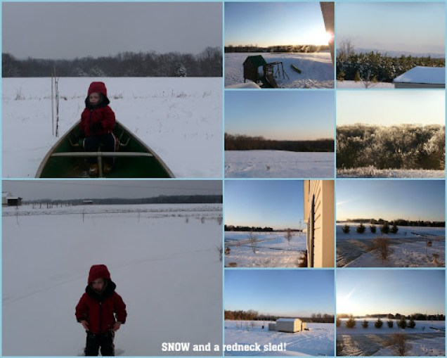 Snow and a redneck sled makes sledding and cold days fun!