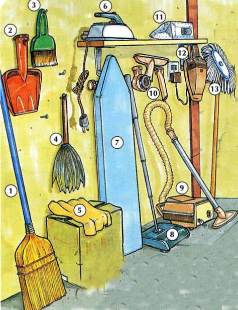 1. broom 2. dustpan 3. whisk broom 4. feather duster 5. dust cloth 6. iron 7. ironing board 8. carpet sweeper 9. vacuum (cleaner) 10. vacuum cleaner attachments 11. vacuum cleaner bag 12. hand vacuum 13. (dust) mop/ (dry) mop 14. (sponge) mop