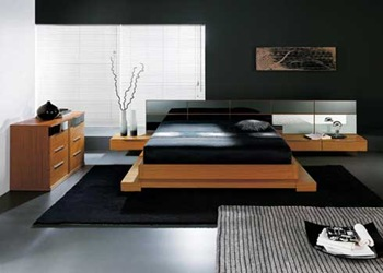 Diseño interior minimalista: habitación, colores oscuros
