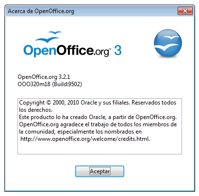 OpenOffice 3.2.1 en Windows