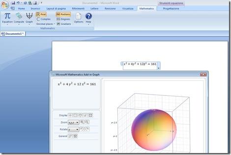 Inserire simboli matematici, calcoli, espressioni e charts in Word con Microsoft Mathematics Add (5/5)