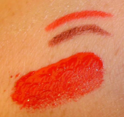 Benefit Gypsy Lip Liner and Elizabeth Arden Red 01 and MAC Russian Red Tinted Lip Glass