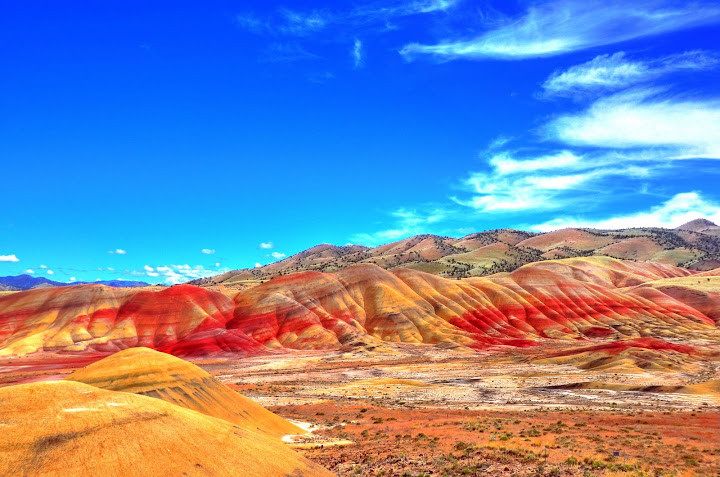 High dynamic render (HDR) overlook view of Painted Hills