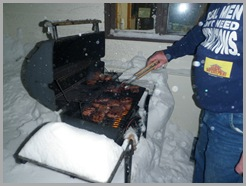 grill in snow