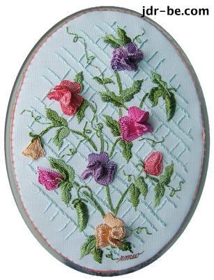 Sweet peas in Brazilian embroidery