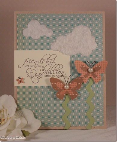 peach aqua kraft cream butterfly card