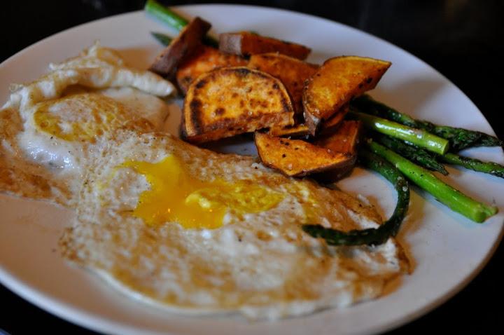 fried eggs, roasted sweet potatoes, & asparagus