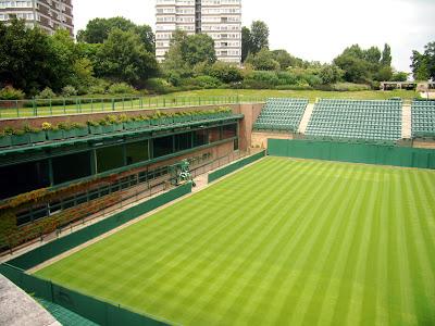 This was taken from the roof of the Broadcast Centre. You can see the windows of the TV studios just above the court.